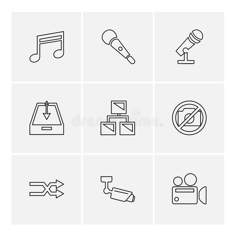 Multimedia , user interface , camera , technology , eps icons se. Multimedia , user interface , camera , technology , play , pause , camcoder , video , click vector illustration