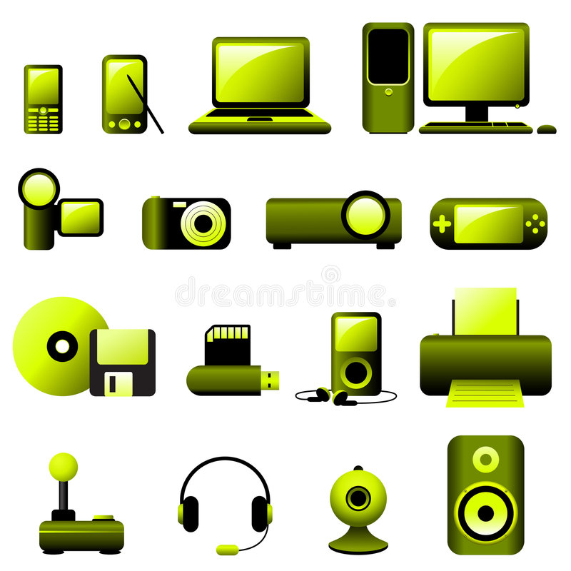 Multimedia Vector Icons stock illustration