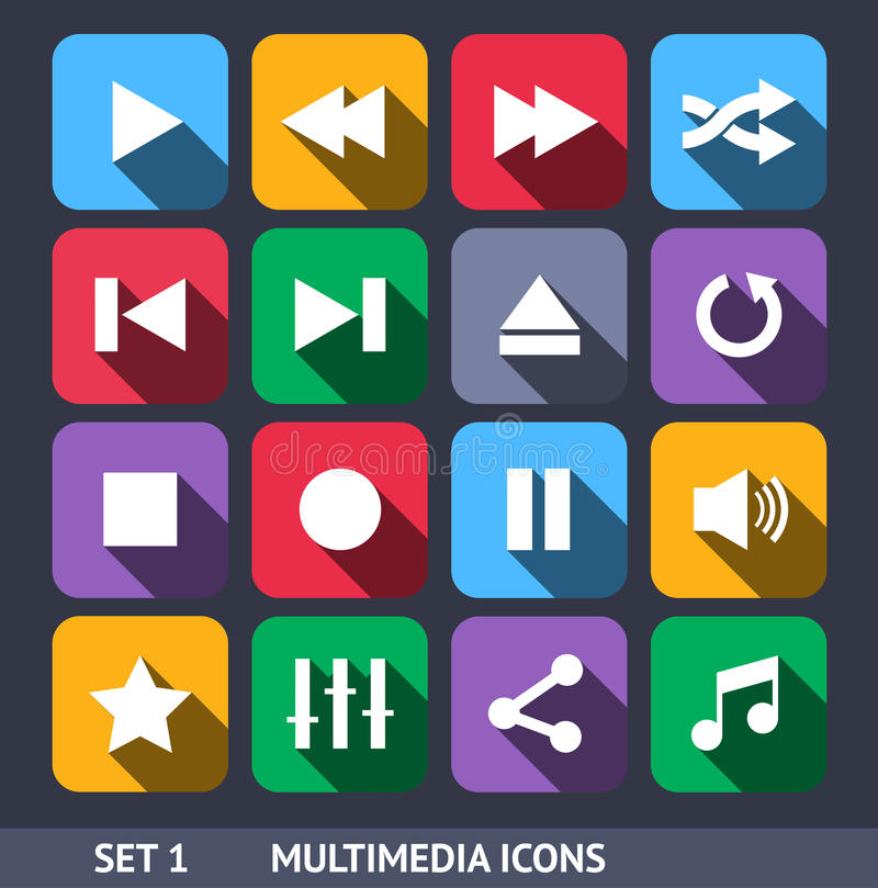 Multimedia Vector Icons With Long Shadow Set 1 stock illustration