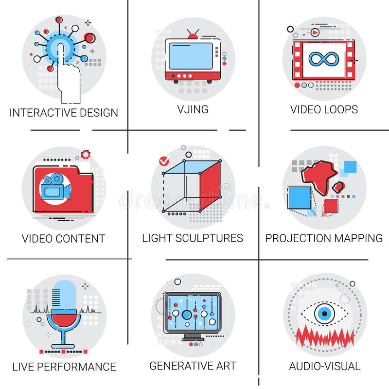 Multimedia visive contente Art Interactive Design Icon Set moderno del video illustrazione vettoriale