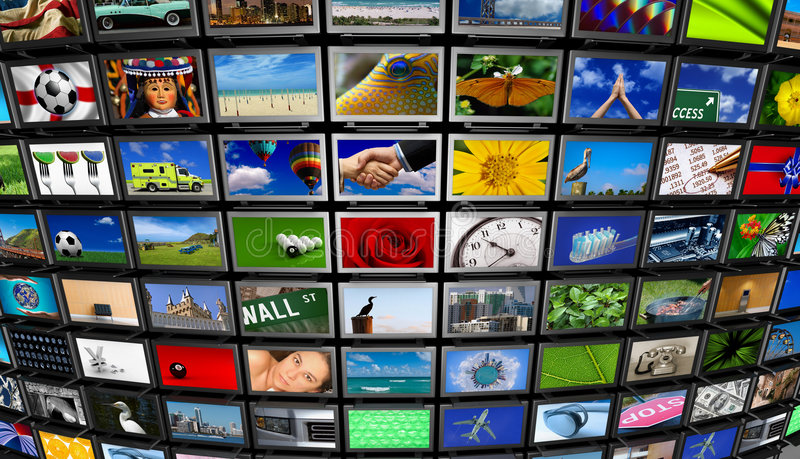 Multimedia Wall. Big installation of Flat Panel TVs displaying different images