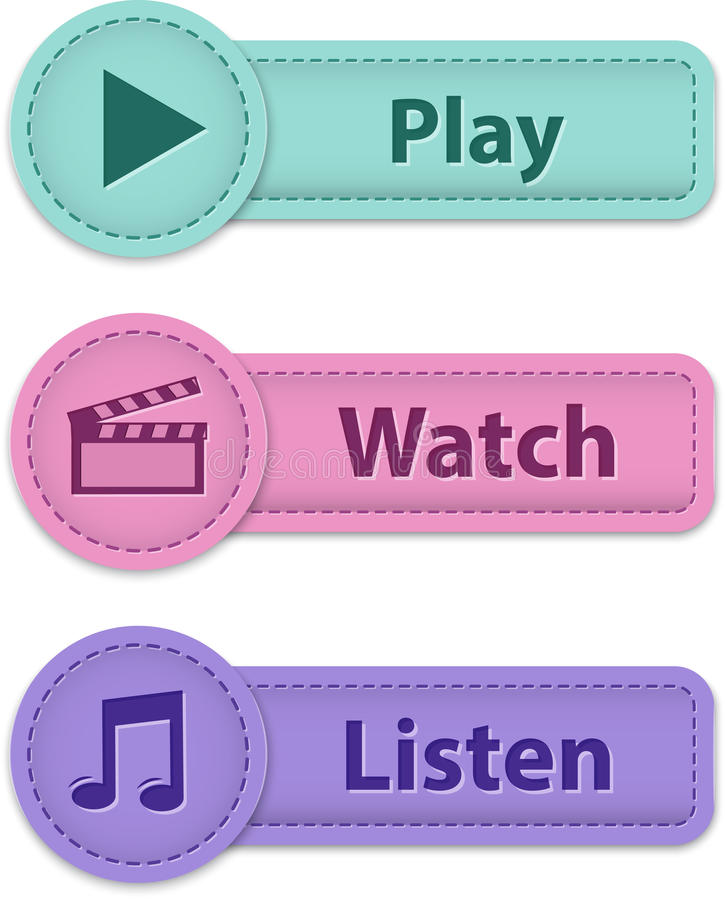 Download Multimedia web buttons stock vector. Image of music, illustration - 28745356
