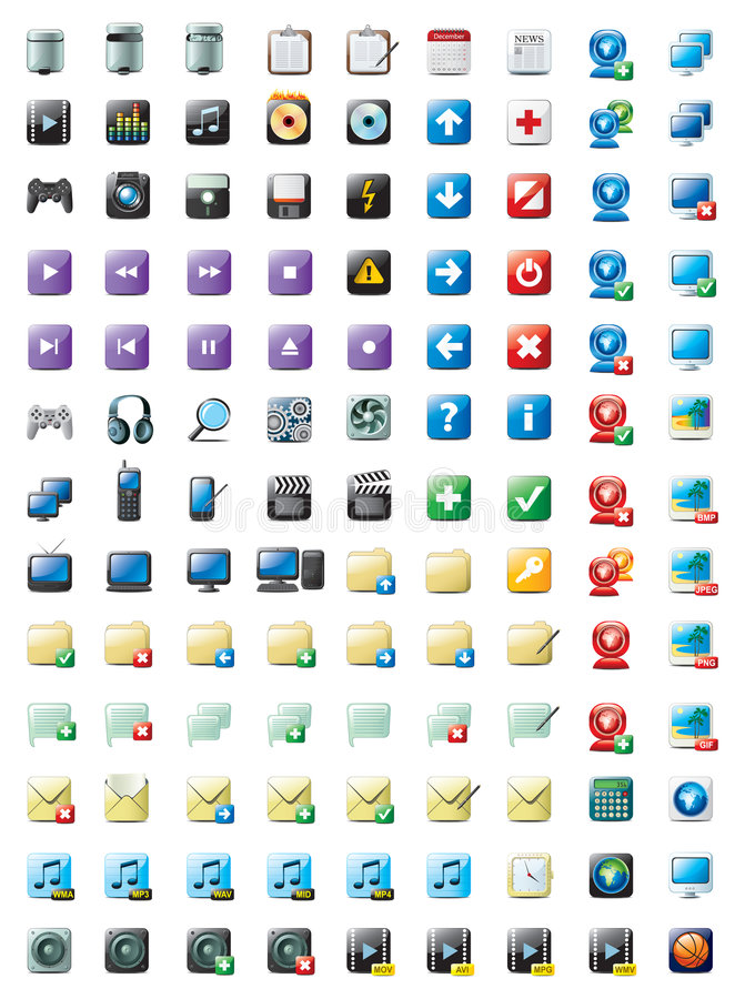 Multimedia and web icons vector illustration