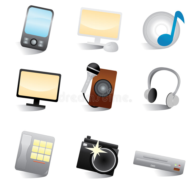 Multimedia web icons royalty free illustration