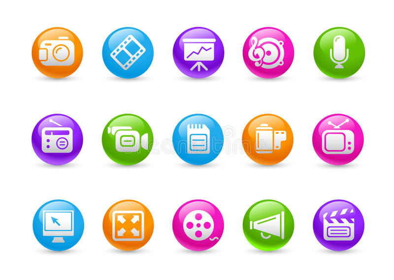 Multimedia Web Icons // Rainbow Series. Glossy buttons set for your website or presentations vector illustration