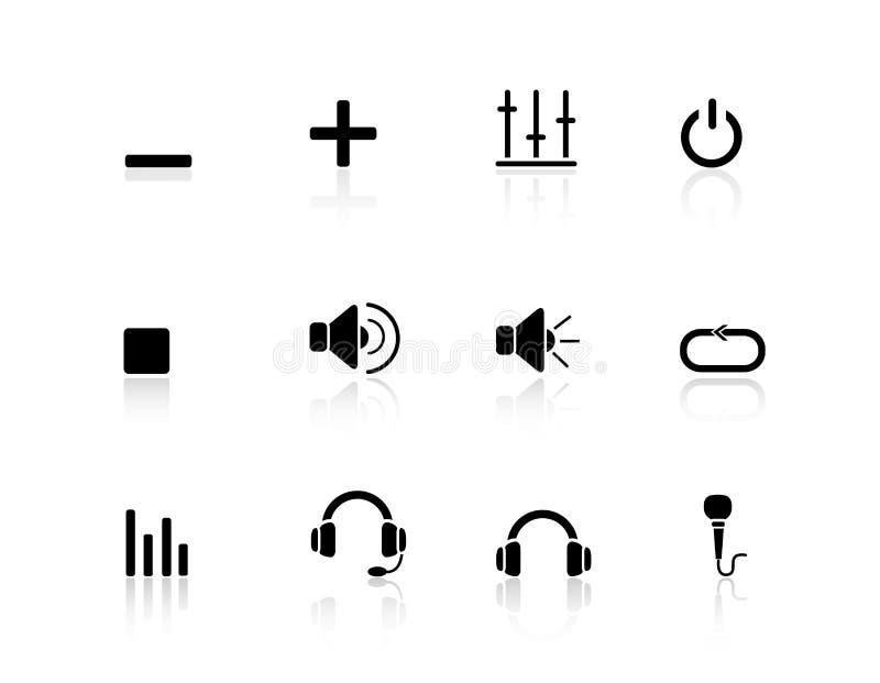 Multimedia y audio de los iconos del Web ilustración del vector