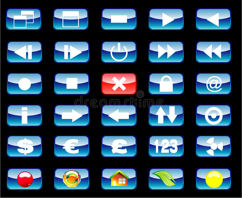 Multimedia y vario conjunto del icono stock de ilustración