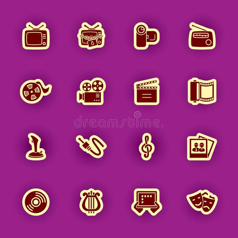 Multimediacomputer-Ikonensatz lokalisiert auf Purpur vektor abbildung