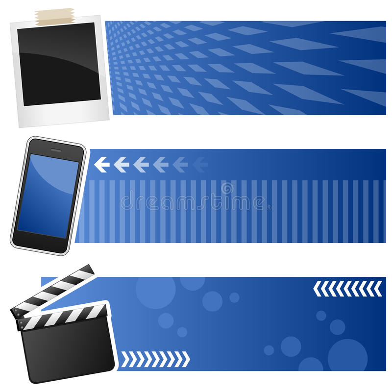 Multimediahorisontalbaner stock illustrationer