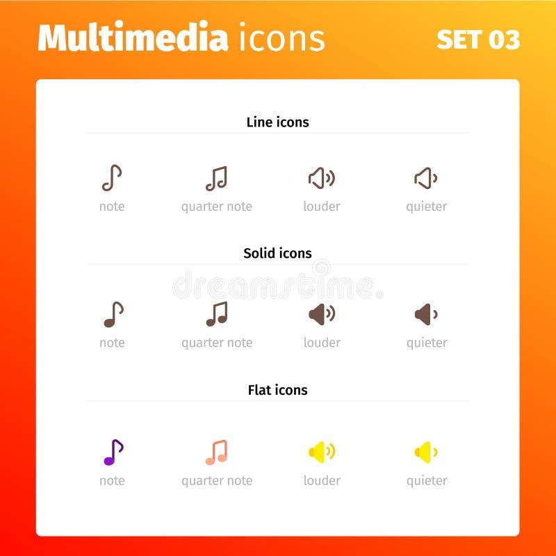 Multimediakontrollsymboler för website och applikationer royaltyfri illustrationer