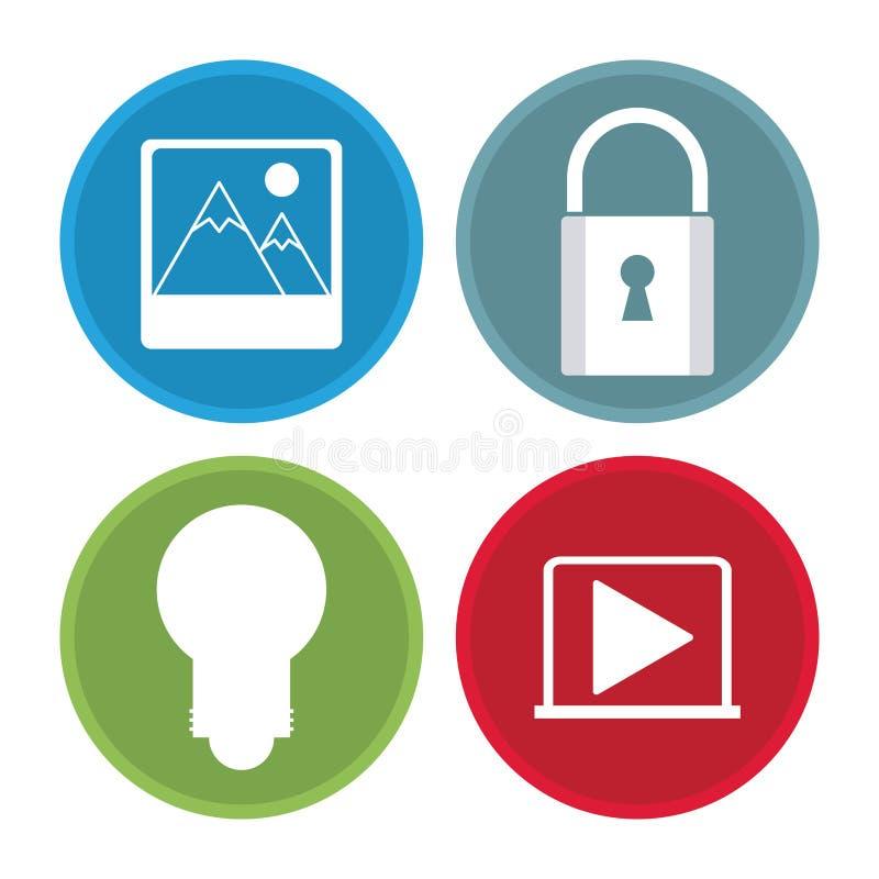 Multimedialne ikony ustawiać ilustracji