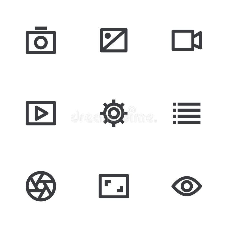 Multimedialne ikony ustawiać przygotowywa ikonę Środka guzik Projekta elementu strona internetowa lub app ilustracja wektor