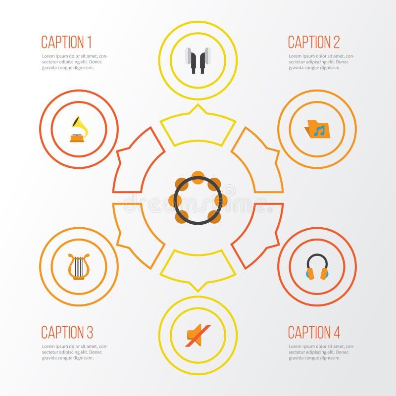 Multimedialne płaskie ikony ustawiać Kolekcja Earpiece, gumilaka, sonata I Inni elementy, Także Zawiera symbole Tak jak ilustracji