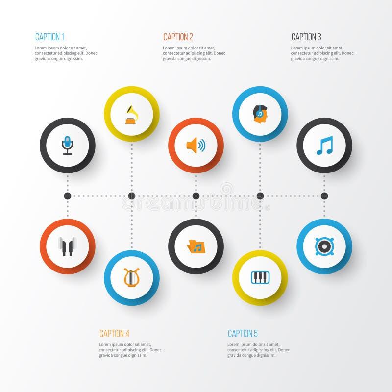 Multimedialne płaskie ikony ustawiać Kolekcja głośnik, portfolio, gumilaka I Inni elementy, Także Zawiera symbole Taki ilustracji