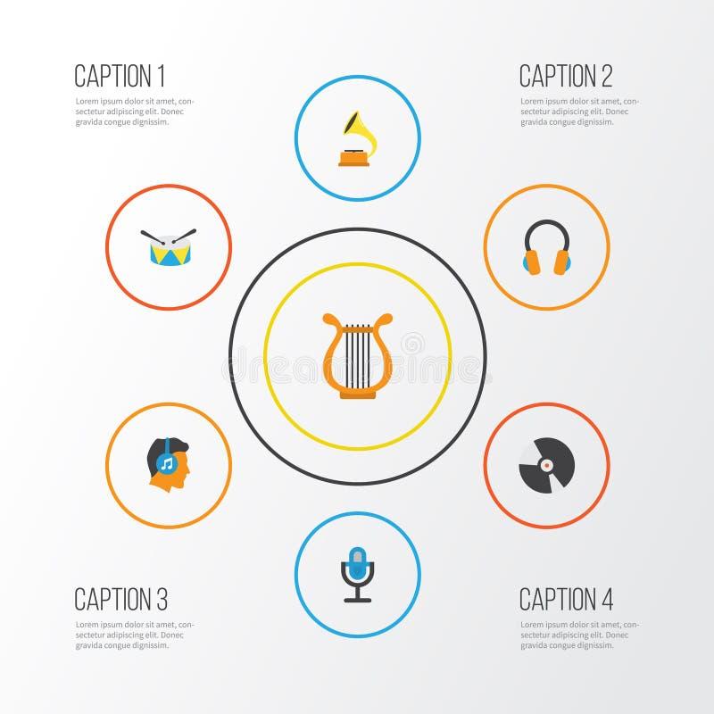 Multimedialne płaskie ikony ustawiać Kolekcja gumilaka ilustracja wektor