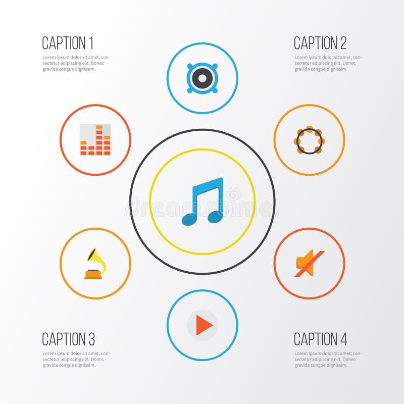Multimedialne płaskie ikony ustawiać Kolekcja zaciszność, brzmienie, gumilaka I Inni elementy, Także Zawiera symbole Tak jak ilustracji