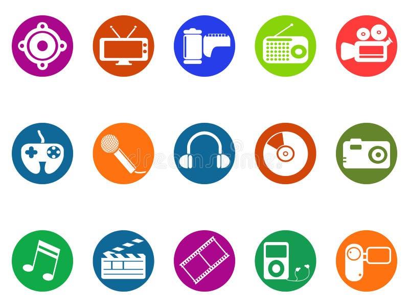Multimedialne round guzik ikony ustawiać ilustracja wektor