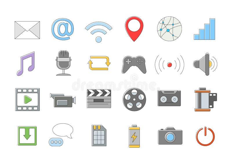 Multimedialne wektorowe ikony ustawiać ilustracja wektor