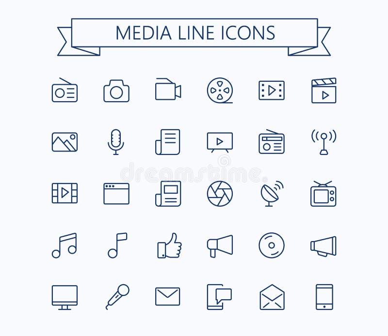 Multimedialne wektorowe ikony ustawiać Cienka kreskowa konturu 24x24 siatka Piksel Perfect Editable uderzenie ilustracji