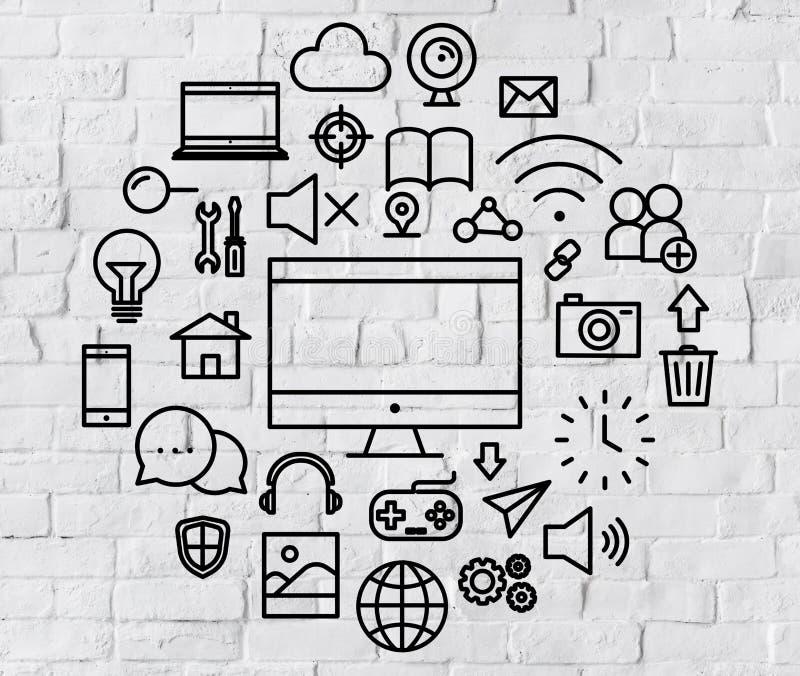 Multimedialnej technologii menu środków Elektroniczny pojęcie ilustracja wektor