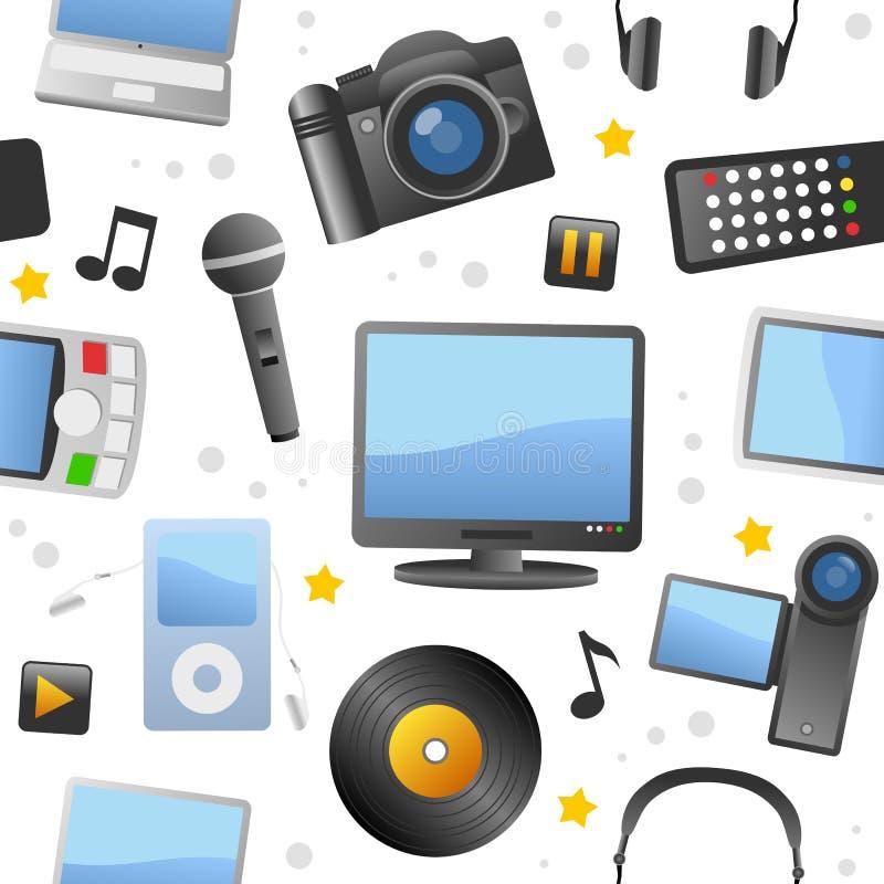 Multimedialnych ikon Bezszwowy wzór ilustracji