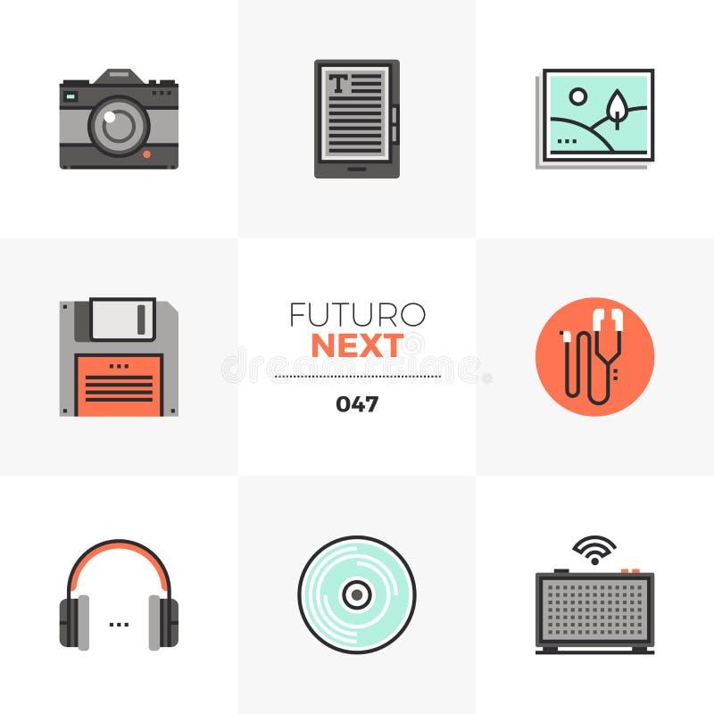 Multimedialnych przyrządów Futuro Następne ikony ilustracja wektor