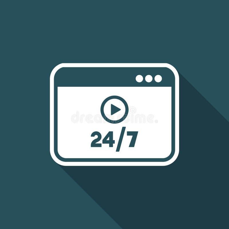 Multimediaservice direktanslutet 24/7 - plan symbol för vektor royaltyfri illustrationer