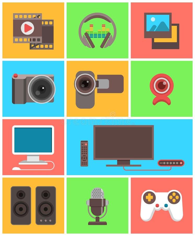 Multimediasymboler stock illustrationer