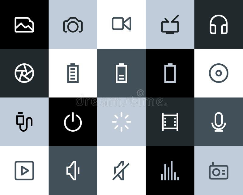 Multimediasymboler. Lägenhet vektor illustrationer