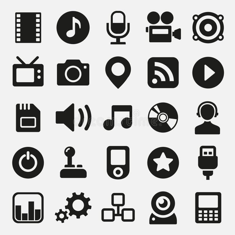 Multimediasymbolsuppsättning royaltyfri illustrationer