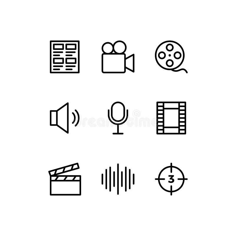 Multimediatoictogram. vectorlijnillustratie stock illustratie