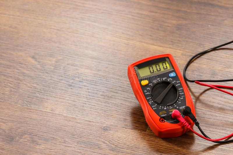 Multimeter for measurement of voltage stock photo