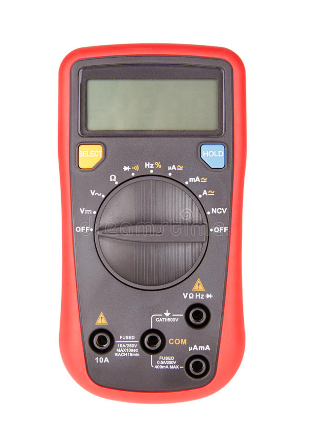 Multimeter. Red automatic multimeter. Measuring device isolated on white royalty free stock images