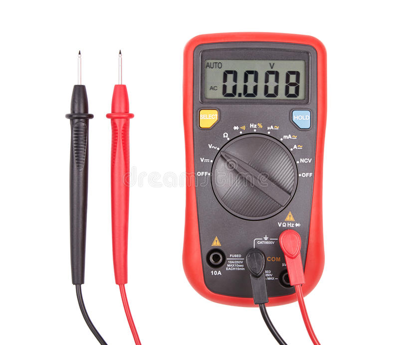Multimeter. Red automatic multimeter. Measuring device isolated on white royalty free stock image