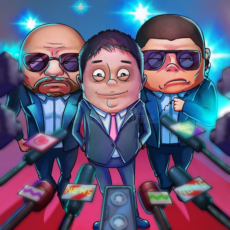 Multimillonario chino Estilo realista de la historieta de la caricatura libre illustration