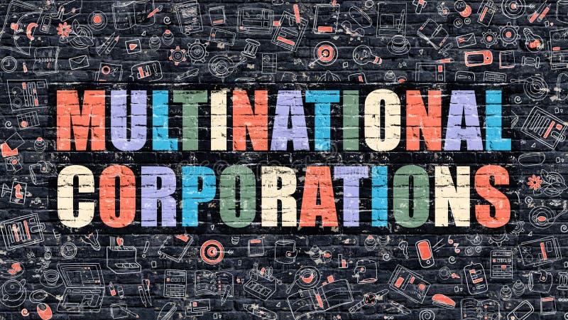 Multinational Corporations Concept. Multicolor on Dark Brickwall. royalty free illustration