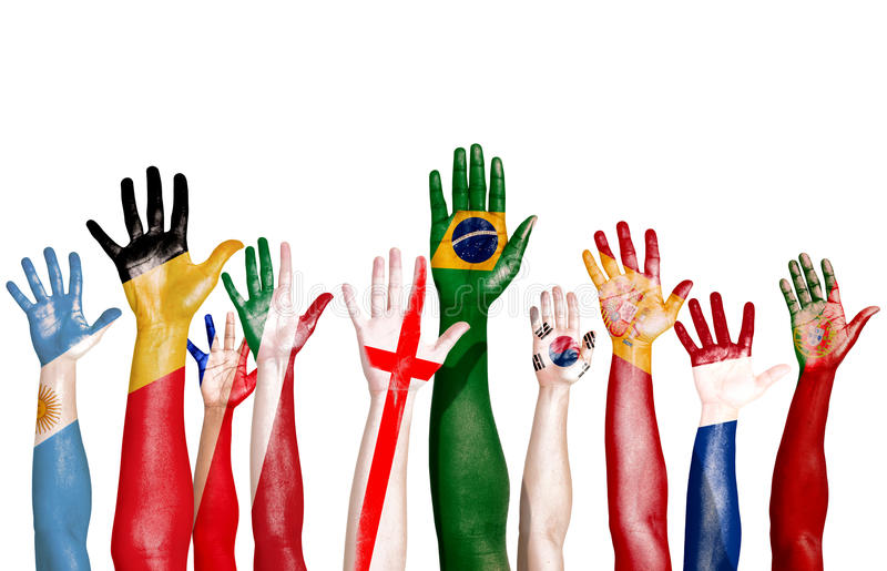 Multinational Flags Drawn on Raised Hands vector illustration