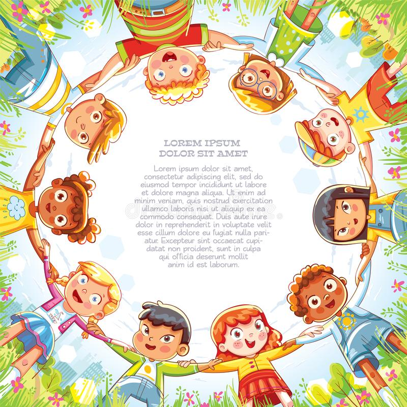 Multinational group of children holding hands. Below view of little friends looking at camera and smiling. Camera angle from bottom to top. Template for stock illustration