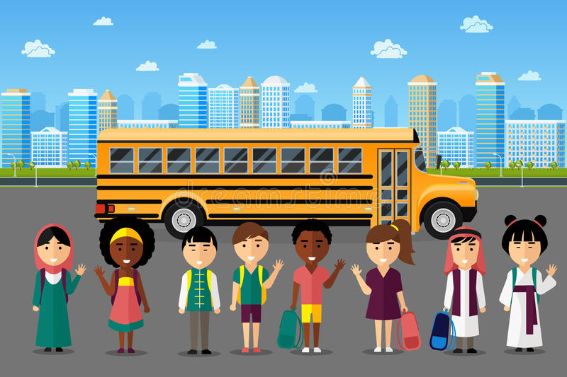 Multinational kids going to school. Arabic japanese chinese group, happy smile childhood, vector illustration royalty free illustration