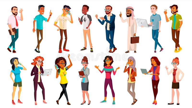 Multinational People Set Vector. Races And Nationalities. Men, Women. Business Person. Businesspeople Ethnic Diverse vector illustration