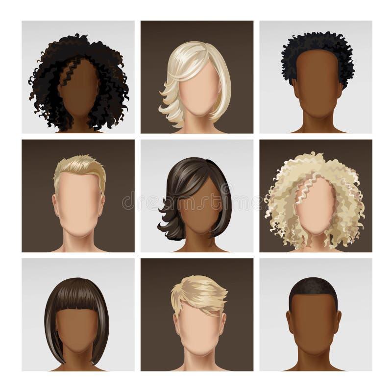 Multinationell manlig kvinnlig framsidaAvatarprofil stock illustrationer