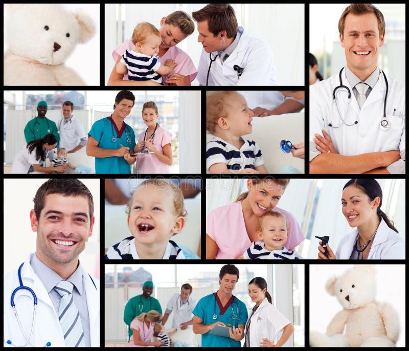 Multipanel der Doktoren mit Schätzchen lizenzfreies stockbild