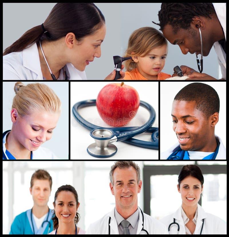 Multipanel des Gesundheitspflege- und Nahrungkonzeptes stockbilder