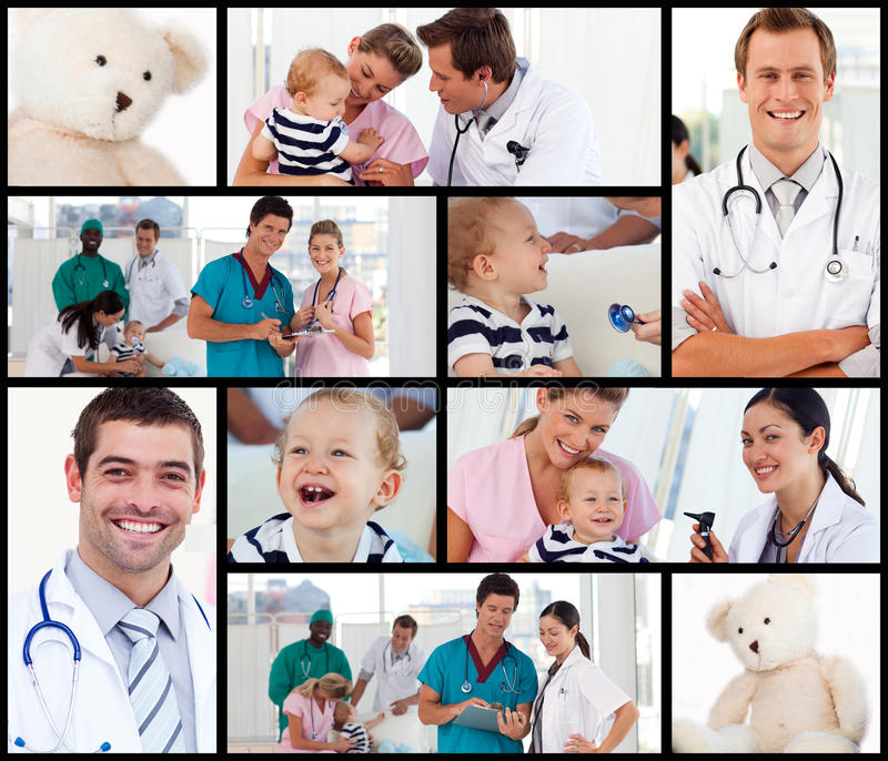 Multipanel Of Doctors With Babies Royalty Free Stock Image