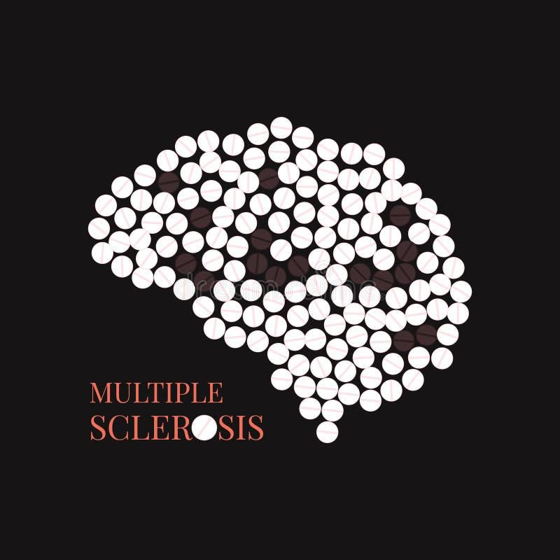 Multipel skleroaffisch med hjärnan royaltyfri illustrationer