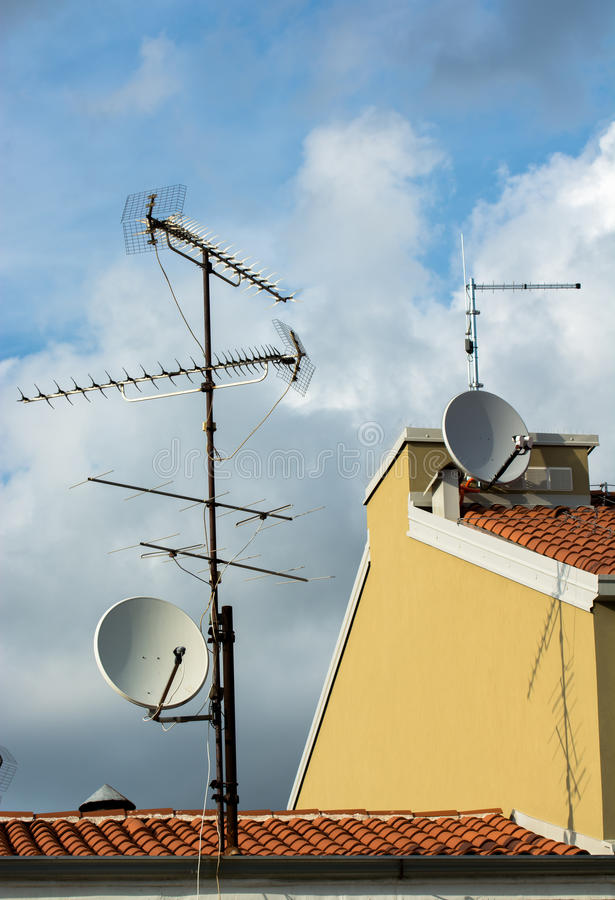 Multiple Aerials on Rooftop stock photos