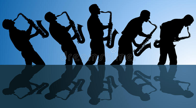 Playing the blues. Multiple angles of man playing the blues on a saxophone. EPS file is AI10 with blends in background vector illustration