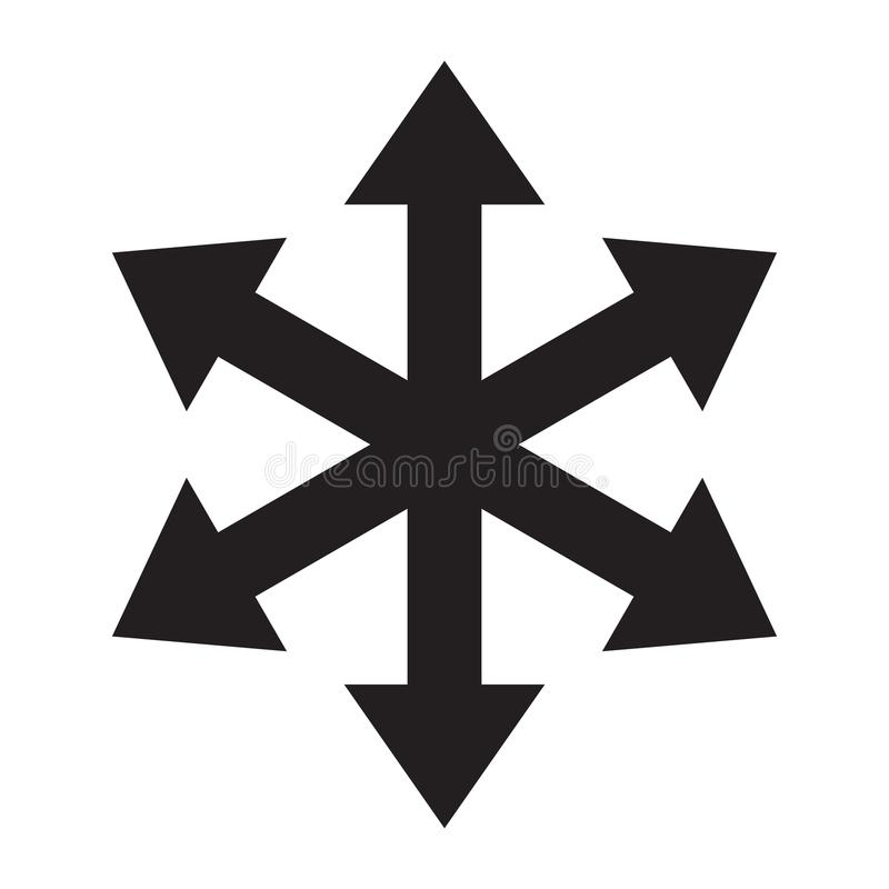 Multiple arrow six way direction vector icon vector illustration