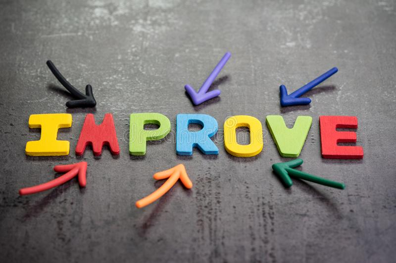 Multiple arrow pointing to colorful alphabet word IMPROVE at the stock photos