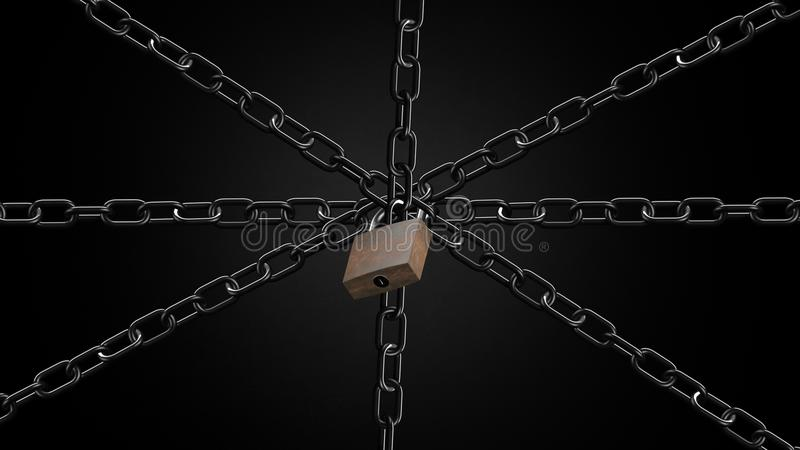 Security concept chains and padlock firewall blocking system or wrapping an object stock photo